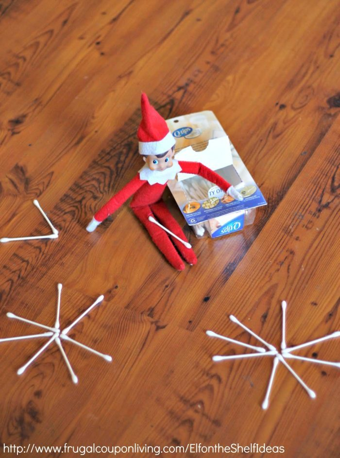 Elf on the Shelf Q-Tip Snow Flake | Preschool Elf Ideas