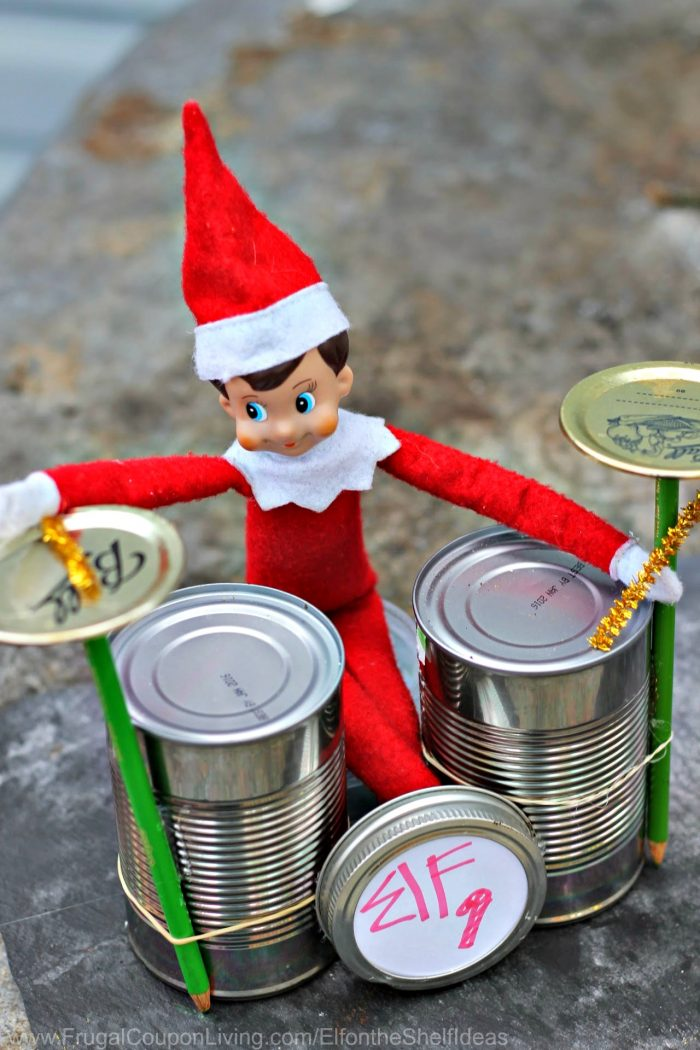 Funny Elf on the Shelf Ideas Drum Cans Band