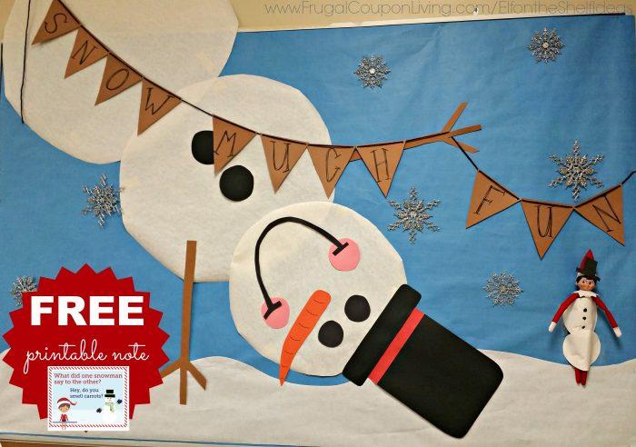 Elf on the Shelf Classroom Ideas with Snowman Bulletin Board