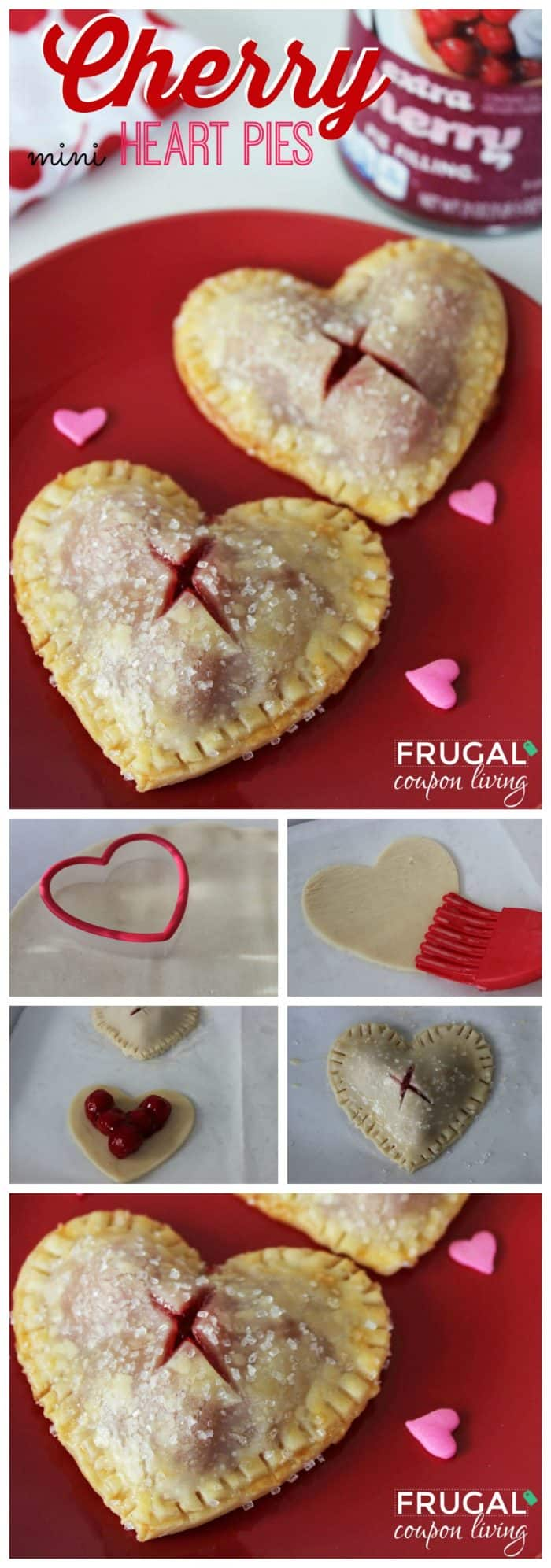 Cherry Heart Pies Dessert for Valentine's Day
