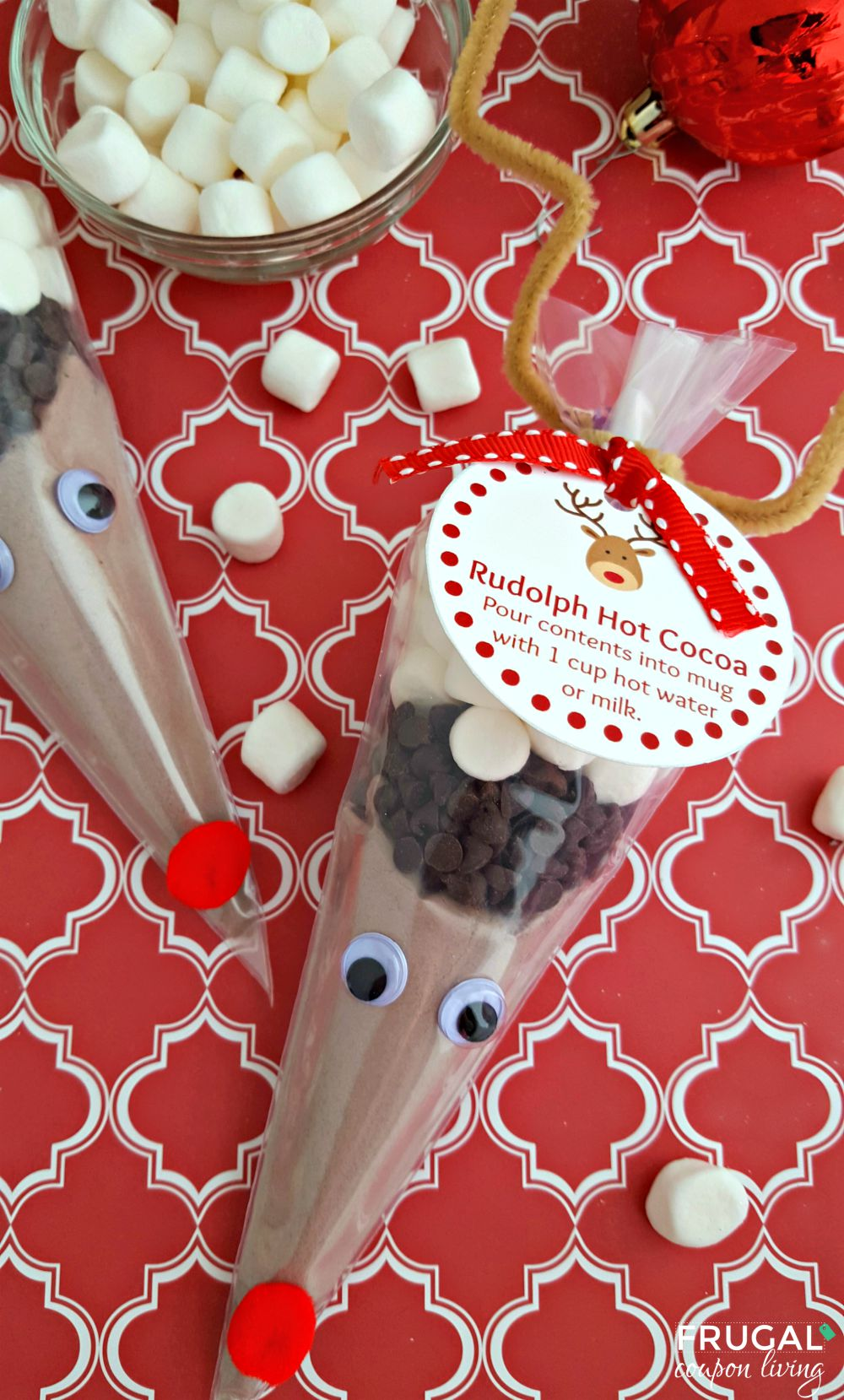 Rudolph Hot Cocoa with Gift Tag on Frugal Coupon Living