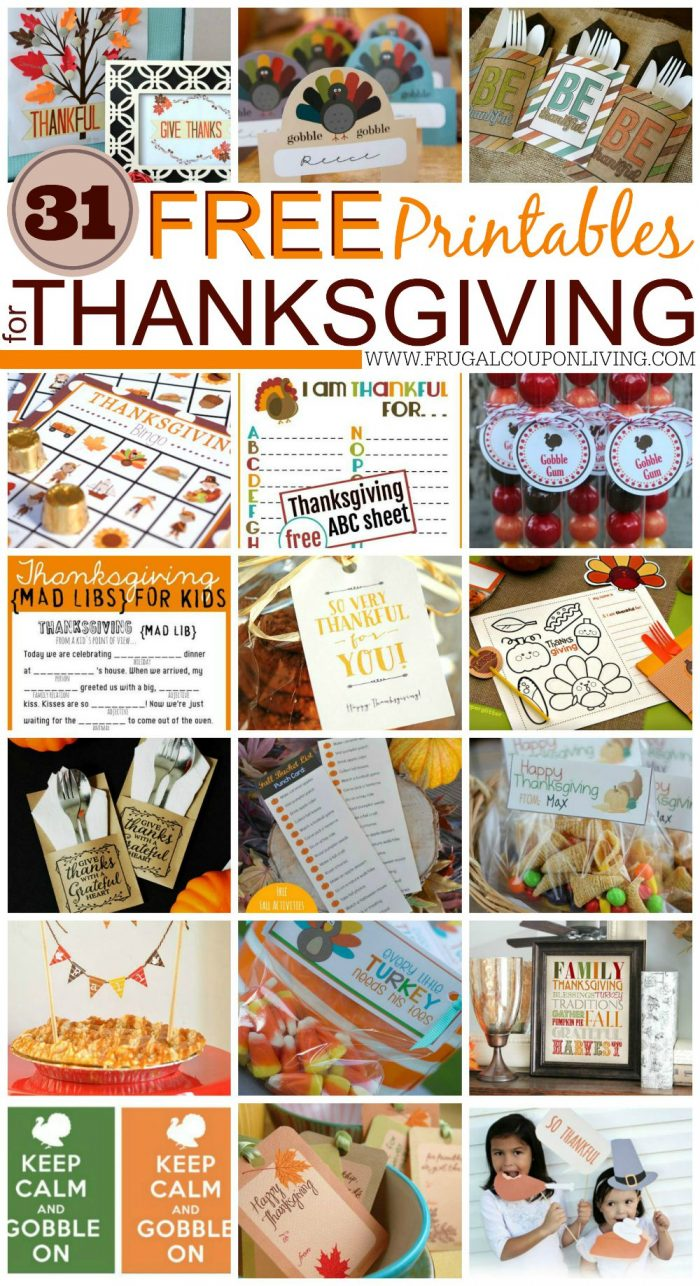 31 FREE Printables for Thanksgiving on Frugal Coupon Living