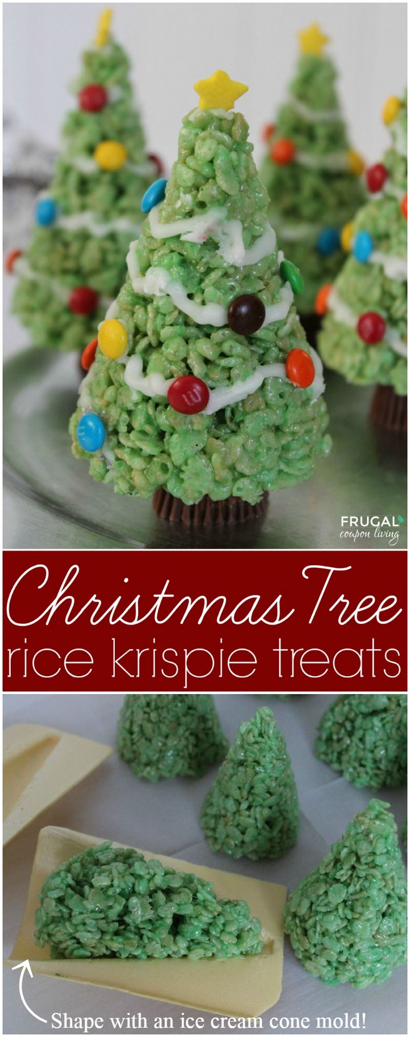 Christmas Tree Rice Krispie Treats Collage on Frugal Coupon Living
