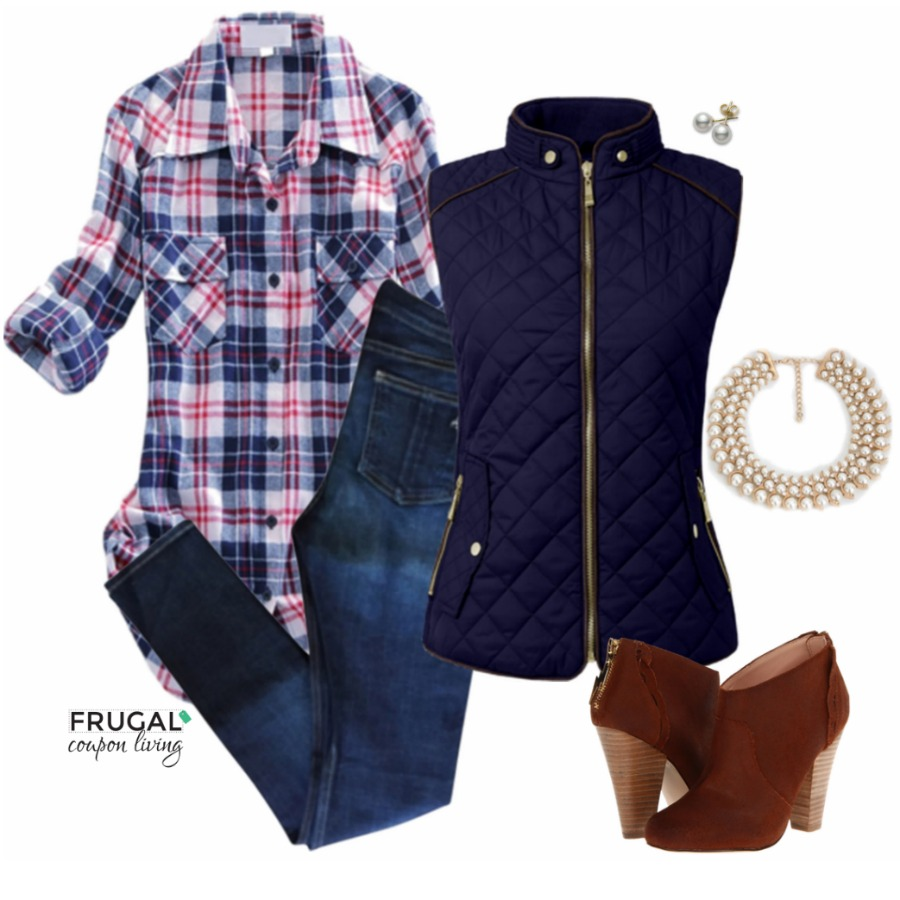 Frugal Fashion Friday Blue Quilted Vest Fall Outfit on Frugal Coupon Living