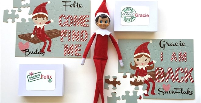 Christmas Elf Personalized Kids Puzzle Christmas Lights Elf Puzzle Personalized Puzzle Kid Gift Elf Return Childrens Custom Puzzle