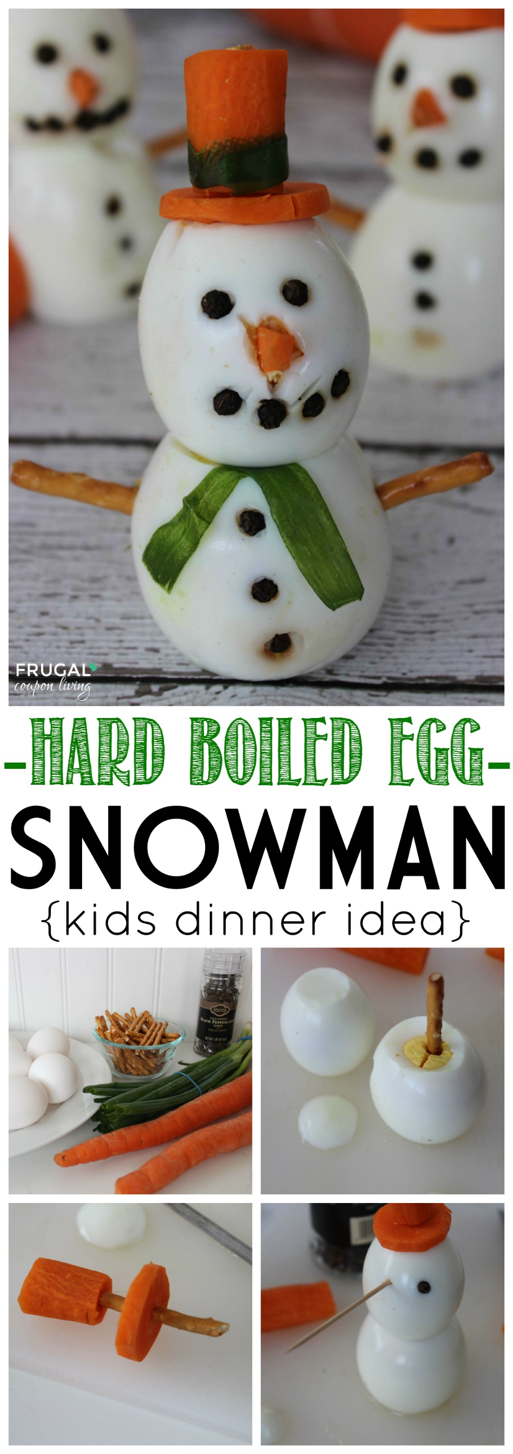 hard boiled egg snowman on Frugal Coupon LIving Collage