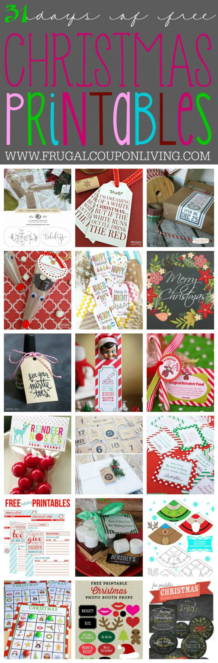 31 days of Free Christmas Printables on Frugal Coupon Living