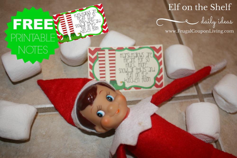 Elf on the Shelf Marshmallow Snow Ball Fight Printable