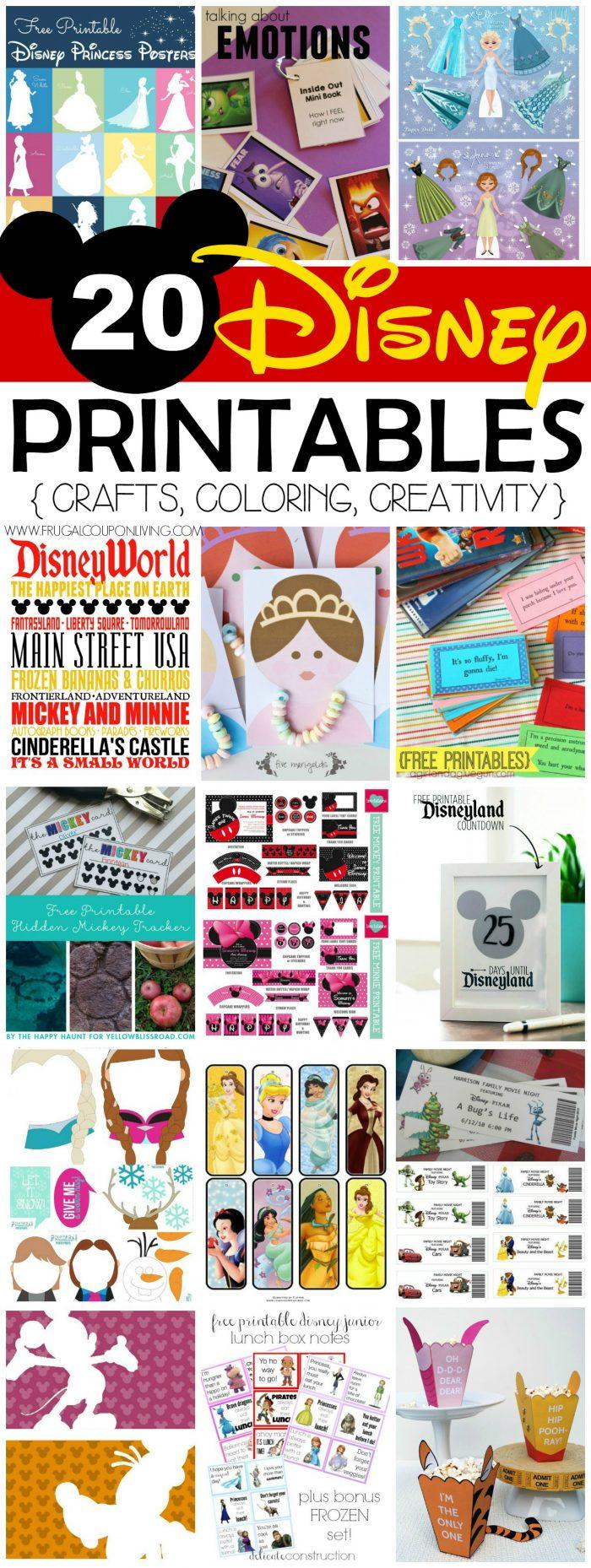 FREE Disney Printables on Frugal Coupon Living