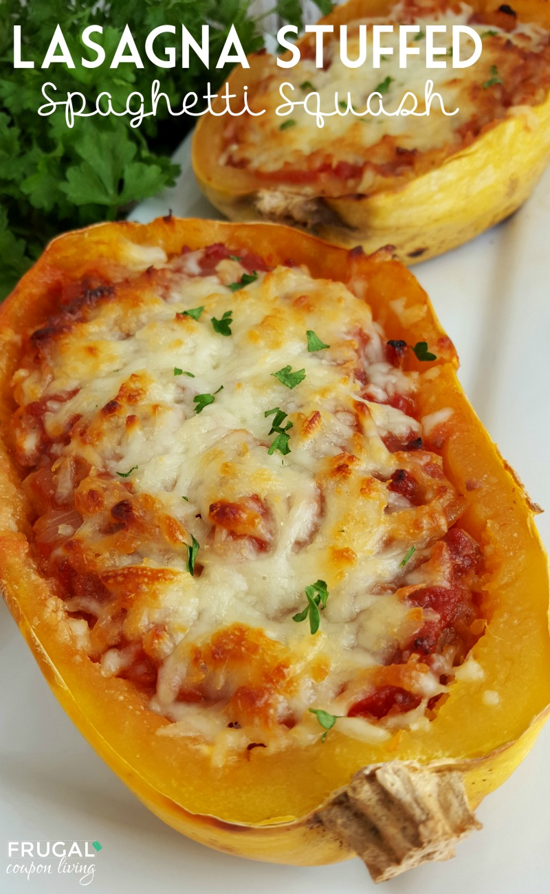 Stuffed Spaghetti Squash Lasagna on Frugal Coupon Living Title