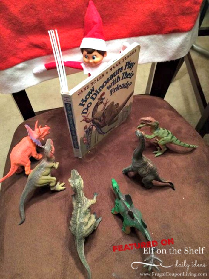 Elf on the Shelf Reads a Book to Dinosaurs  | Elf Ideas for Toddlers