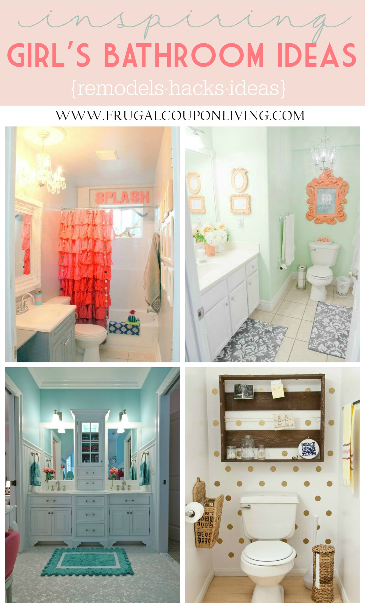 Girls Bathroom Ideas Collage on Frugal Coupon Living