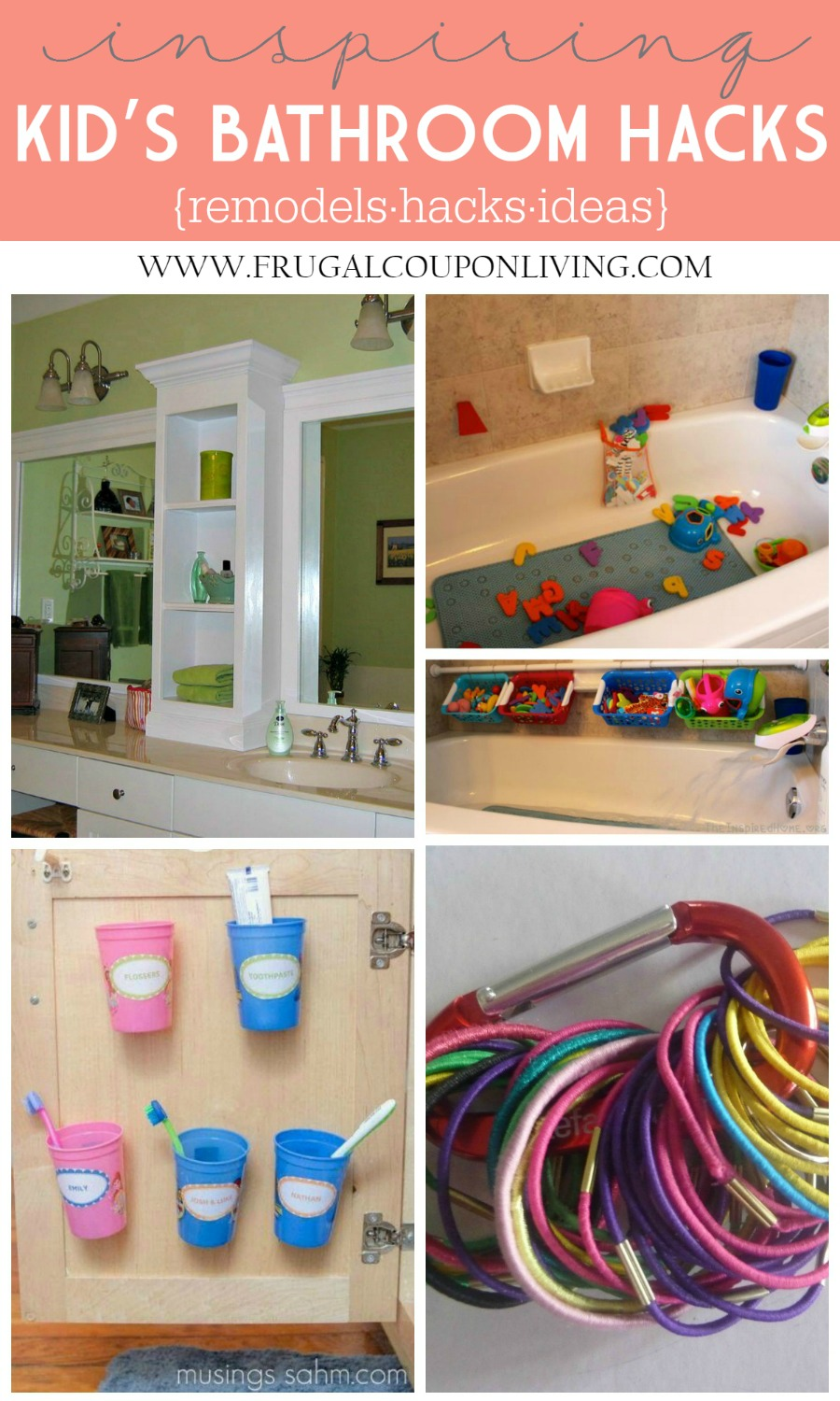 Kids Bathroom Hacks Collage on Frugal Coupon Living