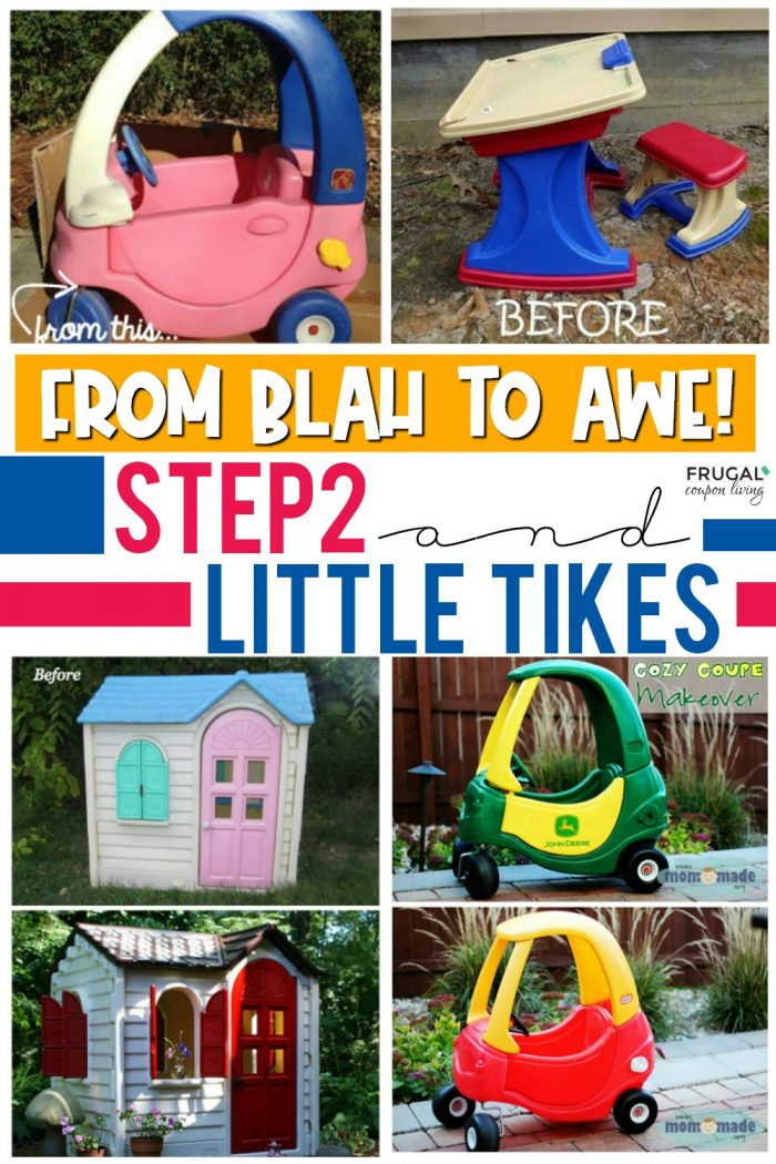 Little Tikes Playhouse Makeover & Step2 Painted Outdoor Toys