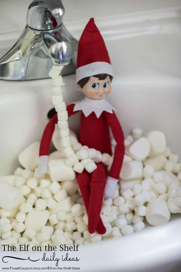 Elf on the Shelf Marshmallow Bath + Elf Ideas with Marshmallows