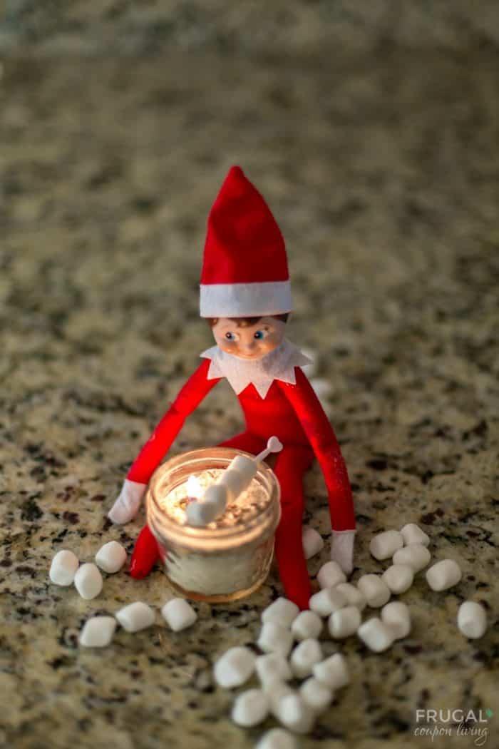 Elf on the Shelf Roasts Marshmallows + Elf on a Shelf Marshmallow Ideas