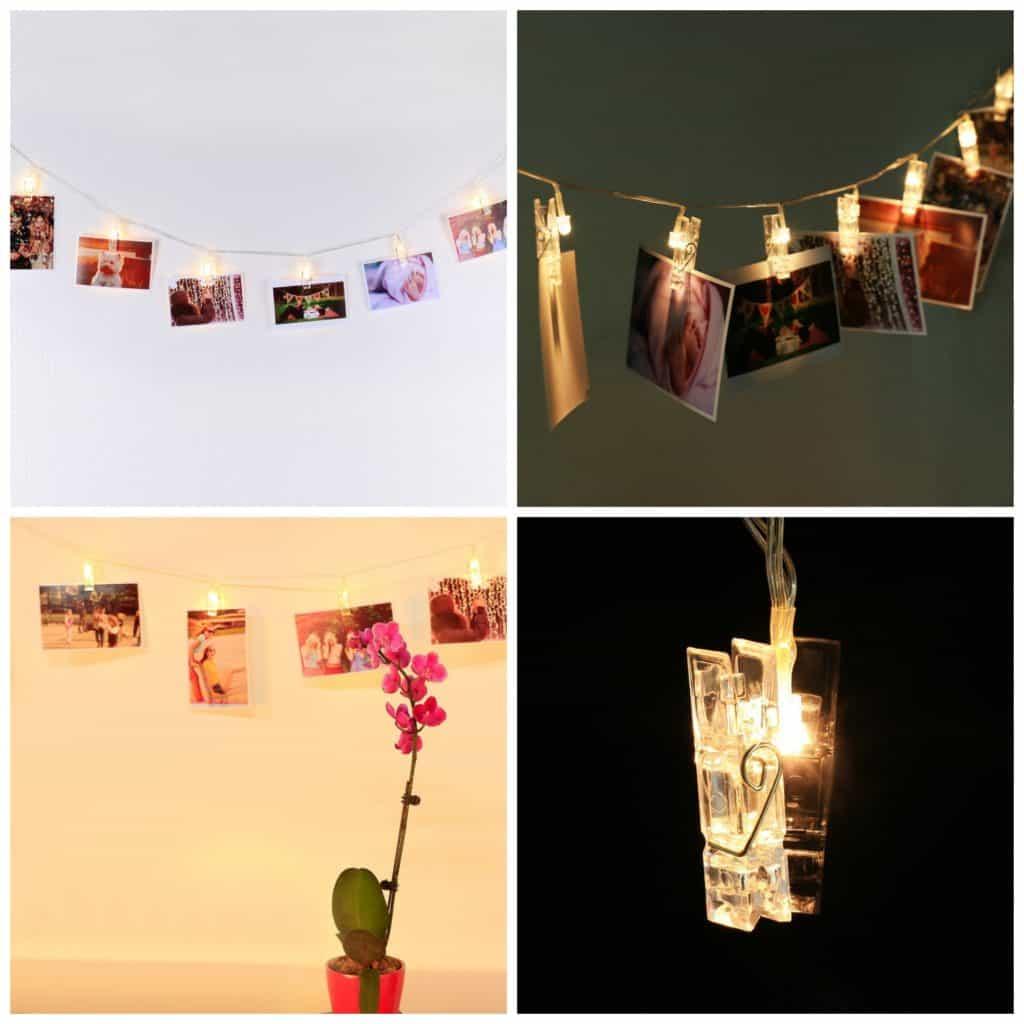 LED photo display string lights
