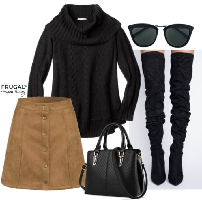 Frugal Fashion Friday Black and Tan Suede Skirt Outfit