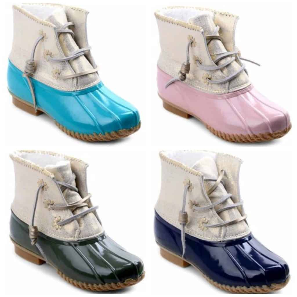Whipstitch Metallic Leather Rubber Boots