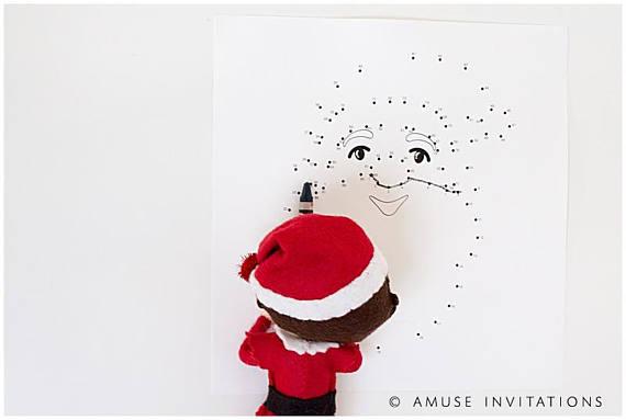 Elf on the Shelf Ideas | Santa Christmas Dot to Dot
