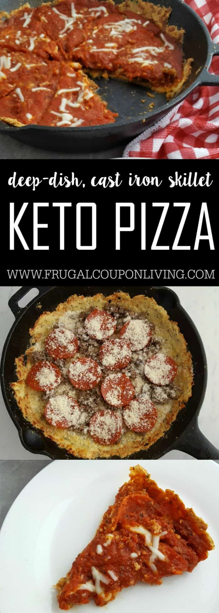 Keto Pizza - Deep Dish Recipe in a Cast Iron Skillet