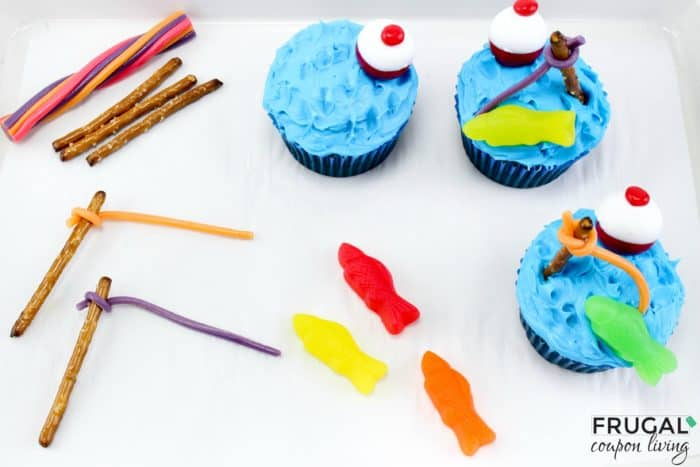 Fishing Cupcakes In Process