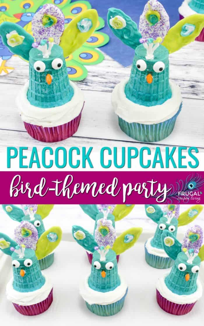 Peacock Cupcakes for a Bird Birthday Party