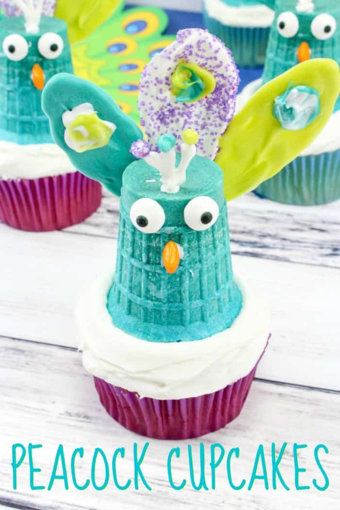 Peacock Cupcakes for Your Bird-Themed Party