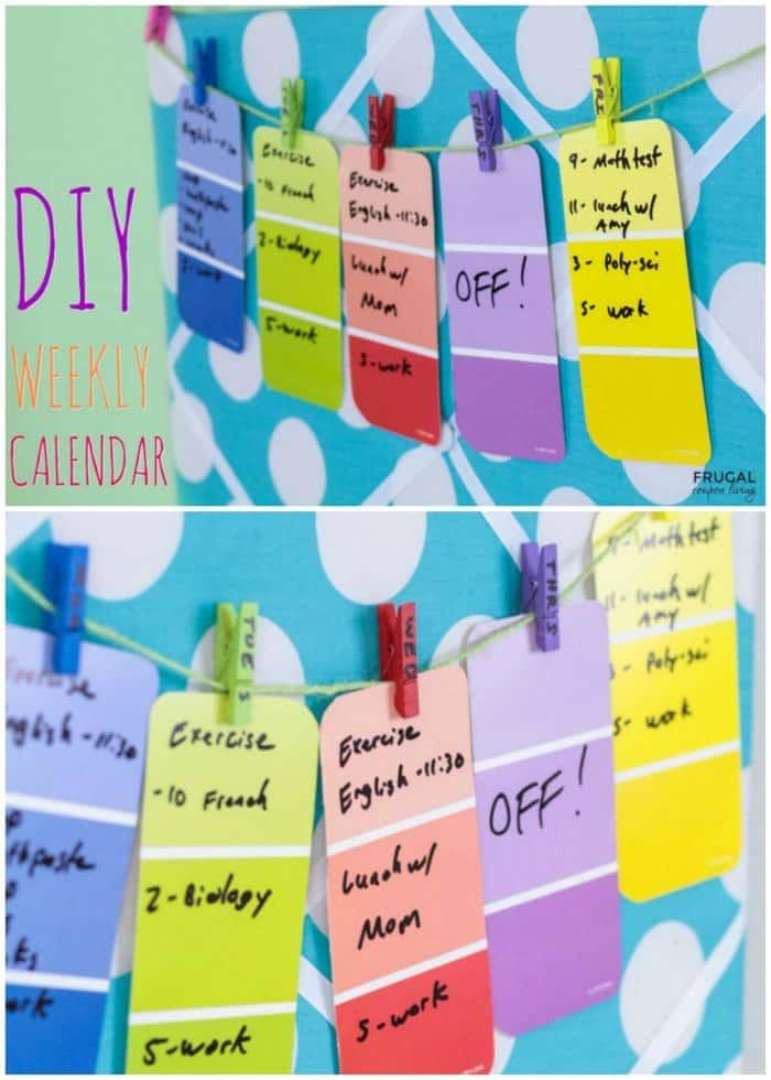 DIY Weekly Calendar Craft Using Paint Chips