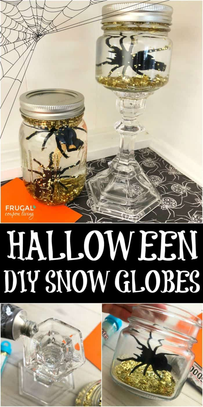 Halloween Mason Jar Snow Globe Tutorial and Snow Glob Ingredients