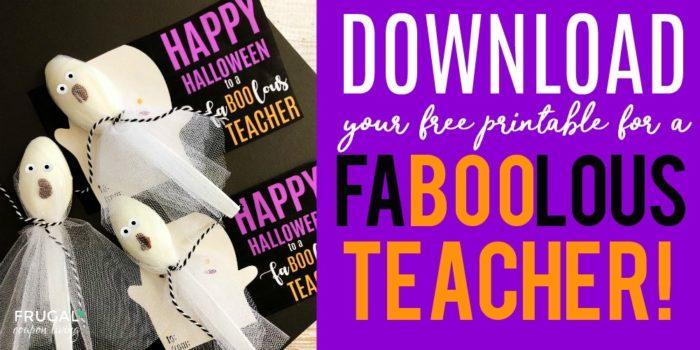 Fa Boo Lous Teacher Gift For Halloween With Free Printable