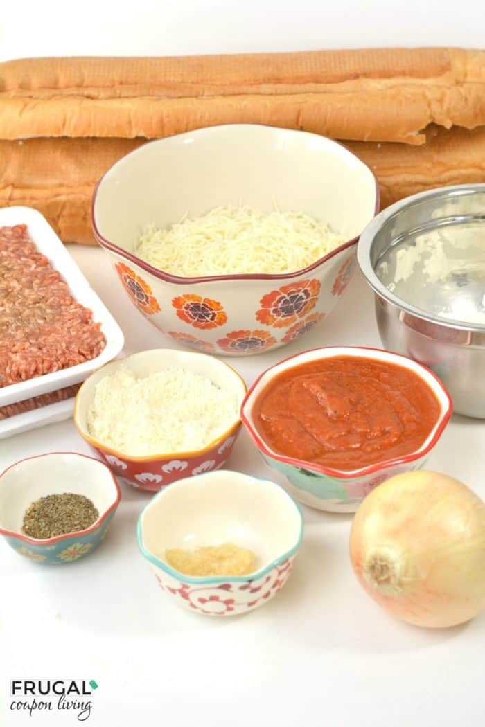 Sausage and Ricotta Pizza Stuffed Cheese Bread Ingredients