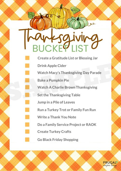 November Family Bucket List for Thanksgiving Printable