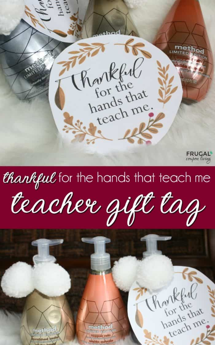 Thankful for the Hands that Teach Me Teacher Gift Tag