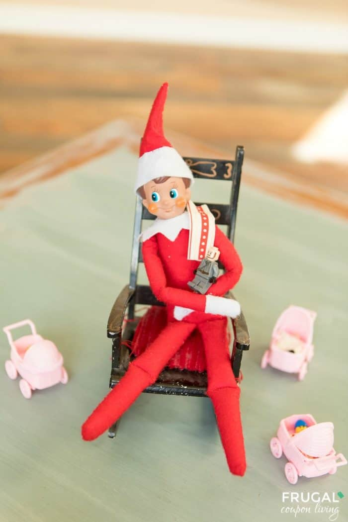 Easy Elf on the Shelf Ideas - Elf Babysitter