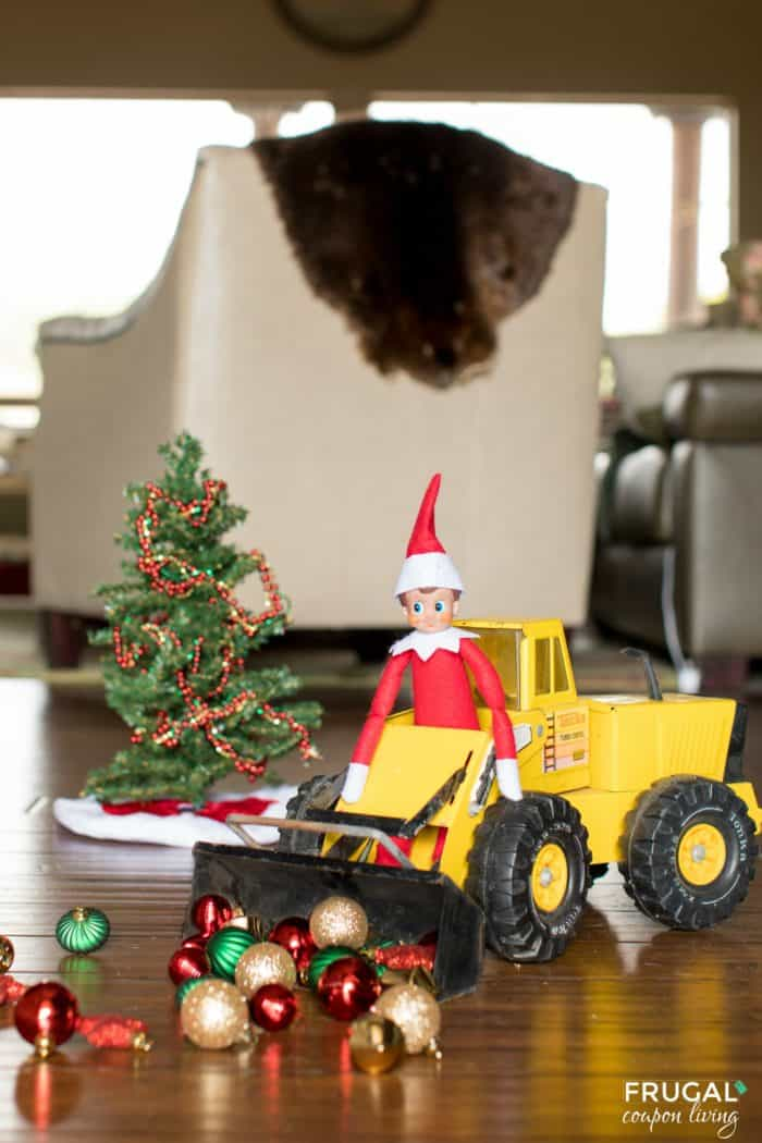 Elf Bulldozing Ornaments
