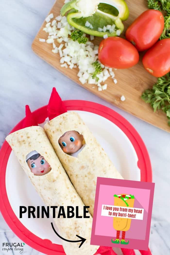Elf on the Shelf Burrito Idea with Printable