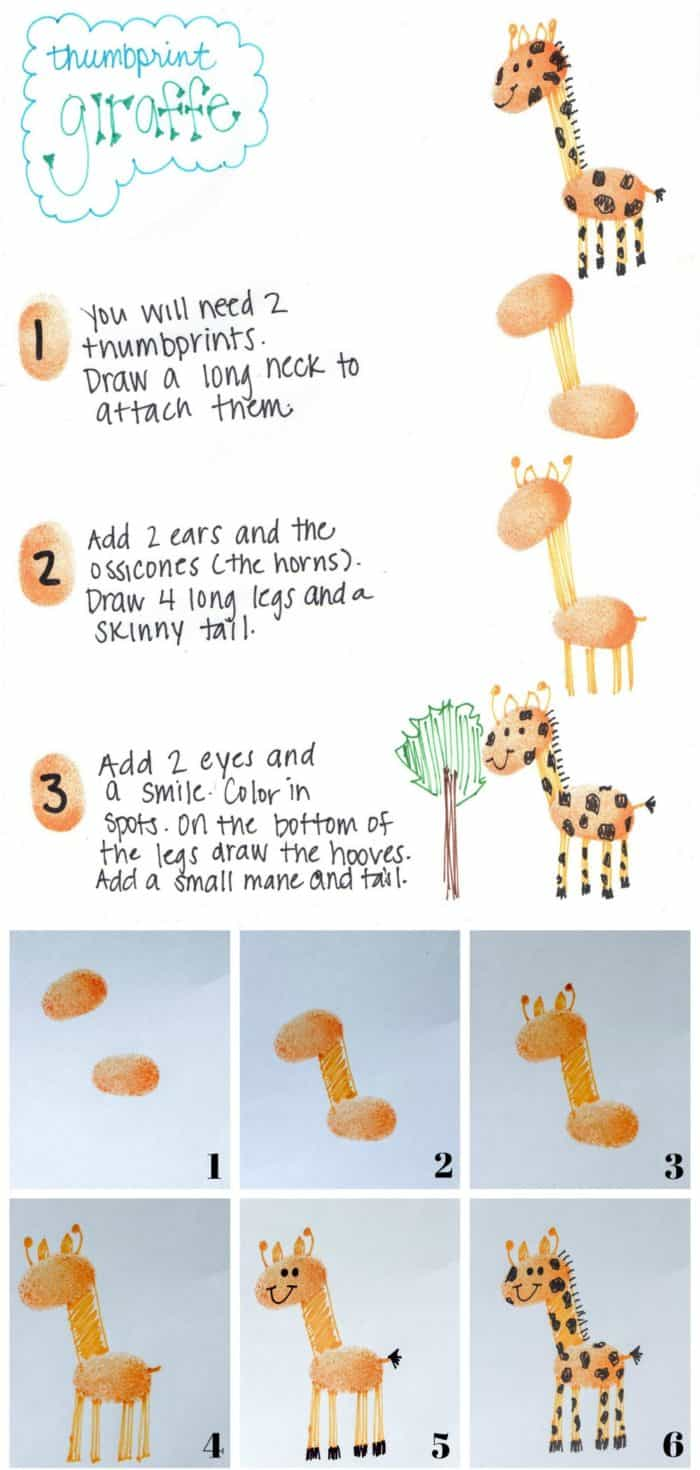 Zoo Animals Fingerprint Art Giraffe Tutorial