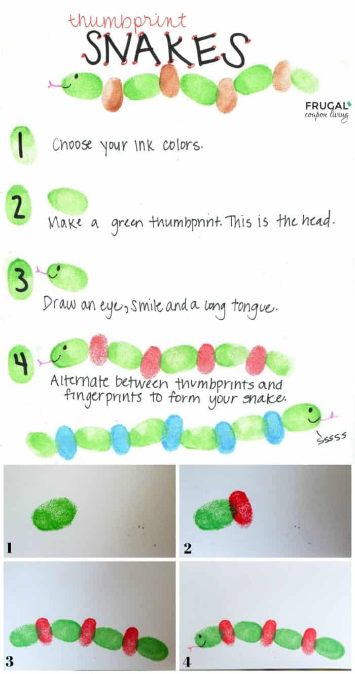 Zoo Animals Fingerprint Art Snake Tutorial