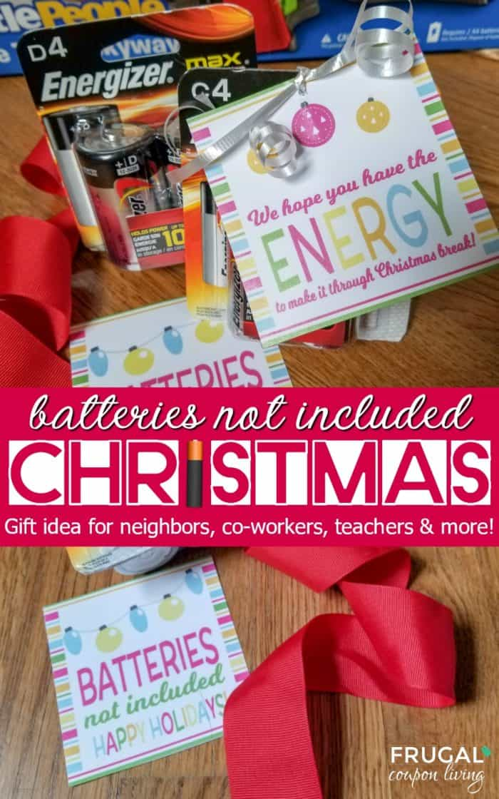 Batteries Not Included - Practical Battery Gift Tag for Christmas