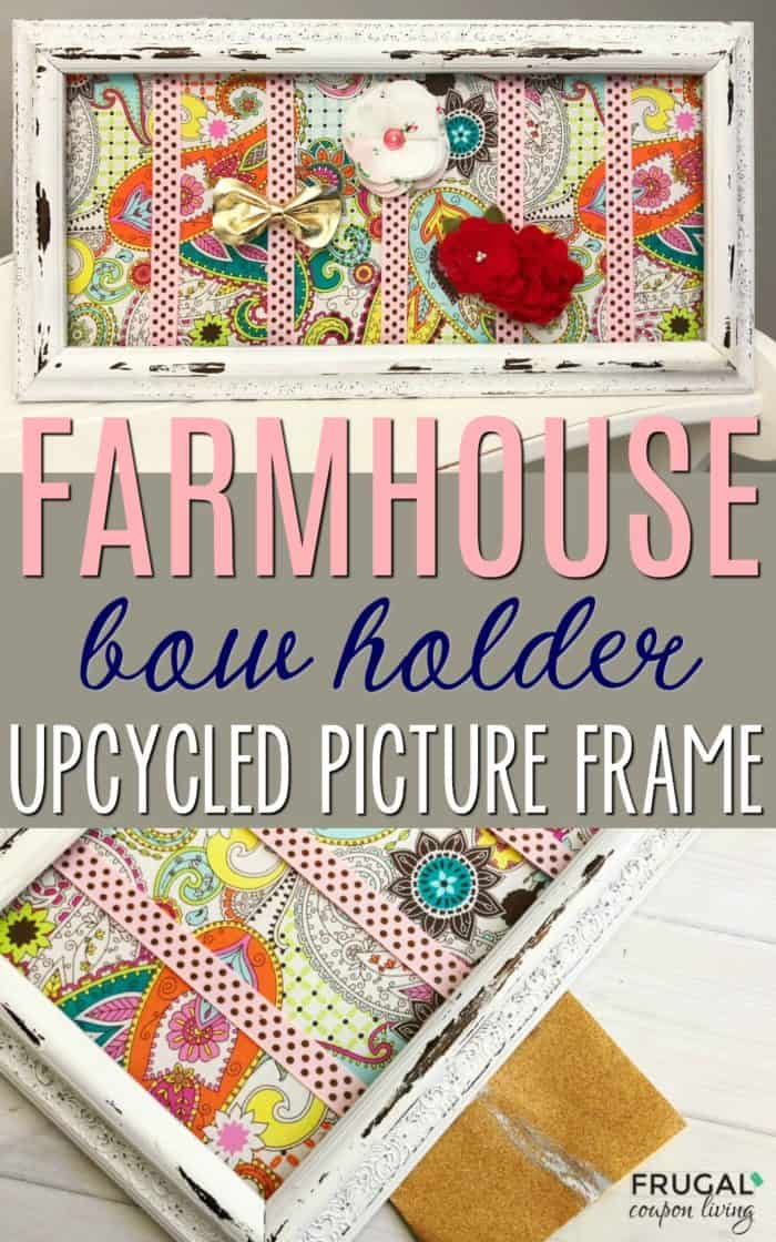 Upcycled Farmhouse Bow Holder Picture Frame