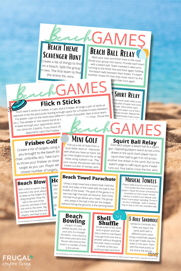Beach Games for Kids Directions PDF with Supply List