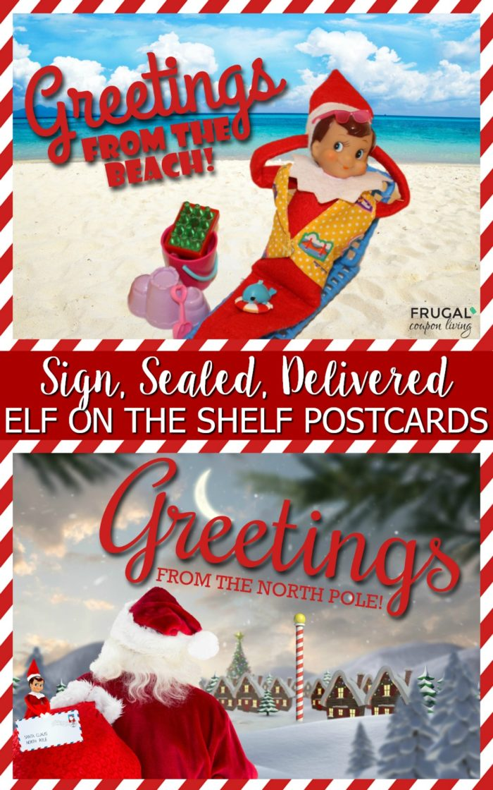Elf on the Shelf on Vacation - Elf Postcards from the Beach or North Pole