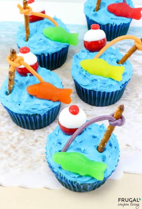 Swedish fish and pretzel on top of gone fishing cupcakes
