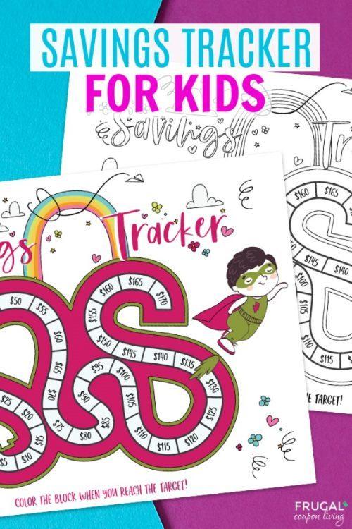 Savings Tacker Printable for Kids