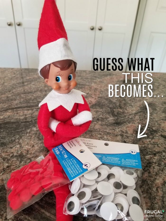 Elf on the Shelf Craft Ideas - Wiggly Eyes and Red Pom Pom