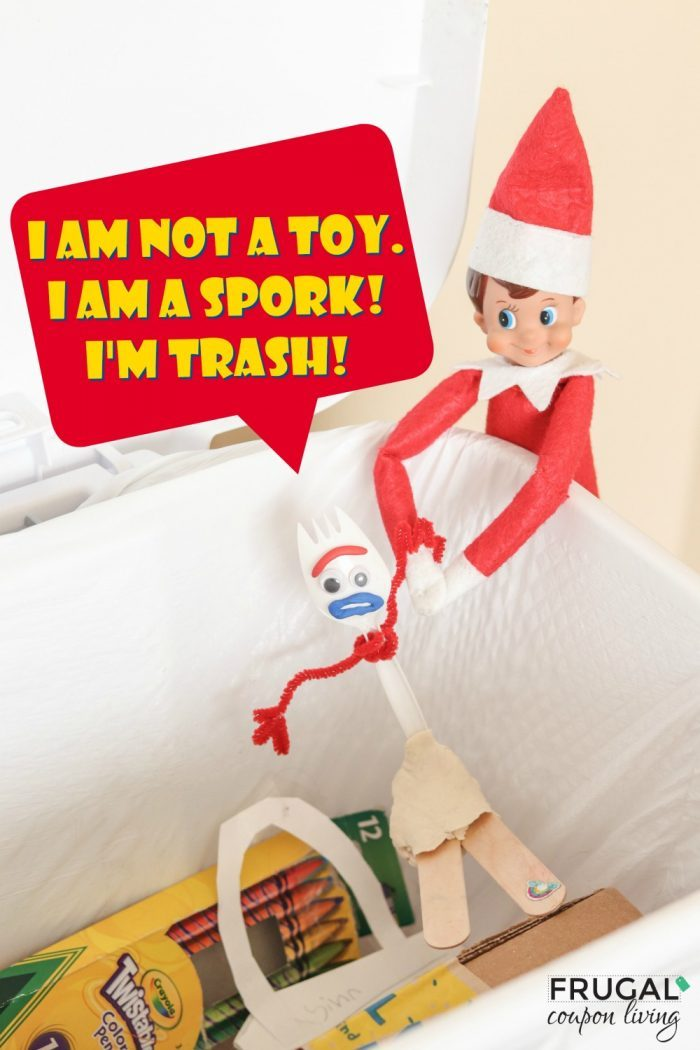 Elf on the Shelf Toy Story Forky in the Trash | Toddler Ideas