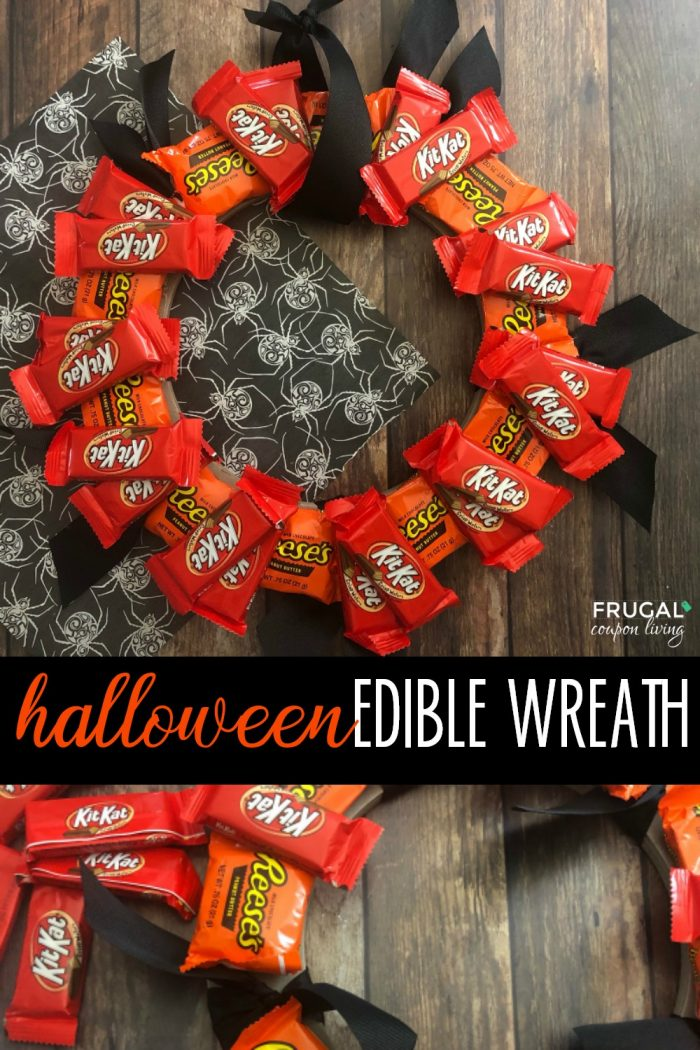 Reese's and KitKat Candy Wreath for Halloween