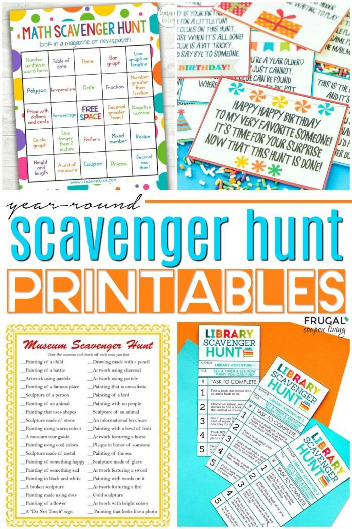 Year-round Printable Scavenger Hunts for Kids