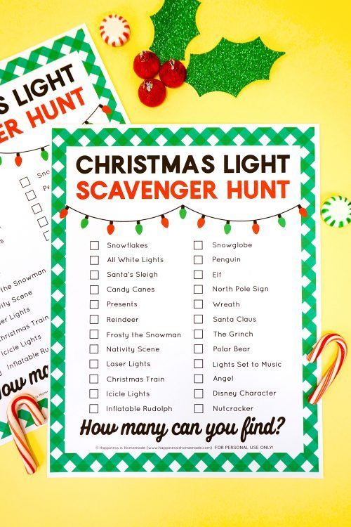 Christmas Lights Scavenger Hunt Printable for Christmas Eve